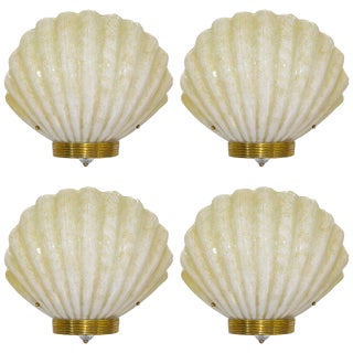1970s Art Deco Style Vintage Shell Sconces in Gold & White Murano Glass For Sale