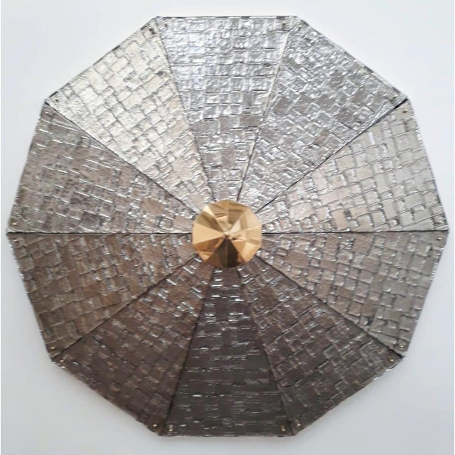 Limited edition Italian flush mount shown in silvered triangular textured Murano glass, with polished brass details /...