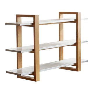 Modernist Steel and Alder Bookshelf, Custom Made by Rehab Vintage For Sale