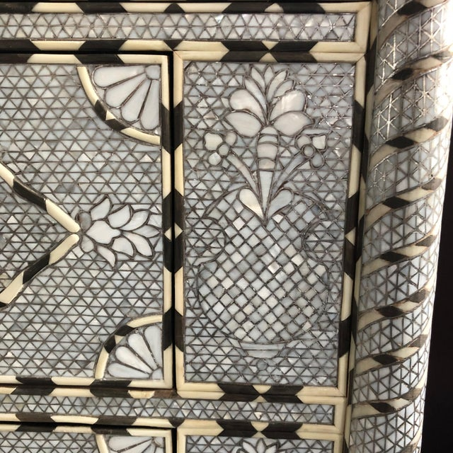 Purple Moorish All White Syrian Mother of Pearl Inlay Dresser For Sale - Image 8 of 10