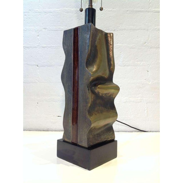 Signed Del Campo Sculptural Bronze Table Lamp For Sale - Image 9 of 10