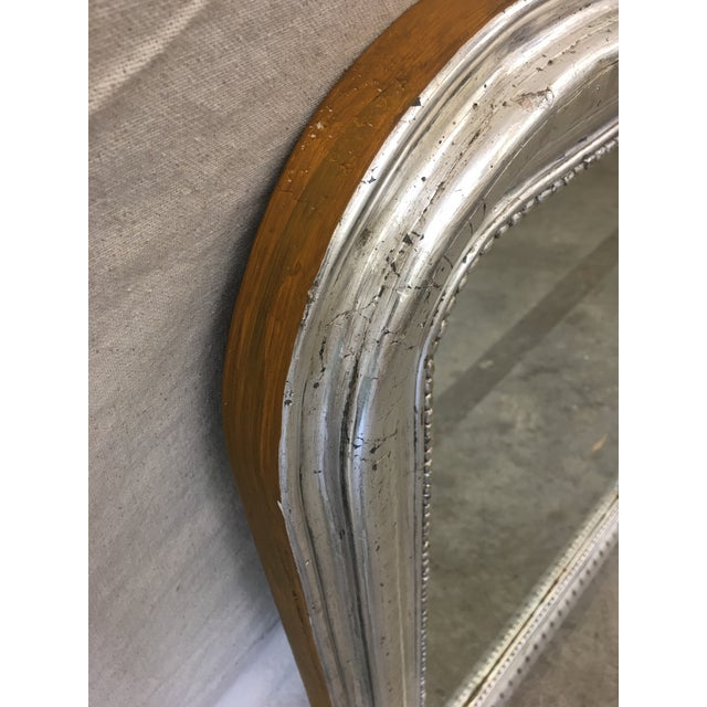 Louis Philippe French Antique Louis Philippe Silver Mirror With Distressed Mirror For Sale - Image 4 of 7