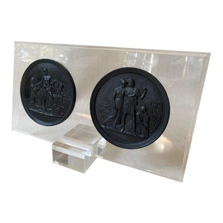 Neoclassical Round Relief Plaques on Lucite by Sarreid For Sale