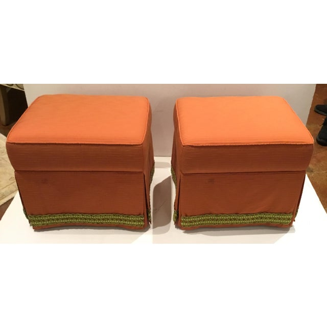 Stylish Traditional Custom Peach Ottomans with Decorative Green Band Pair, skirt, showroom floor samples
