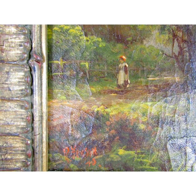 Canvas 1910 R. Fenson H. Maidment English Landscape Oil Painting Country Girl Stream For Sale - Image 7 of 11
