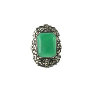 1920s Art Deco Sterling Silver Chalcedony Marcasite Ring For Sale