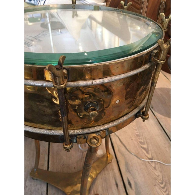 Early 20th Century Solid Brass Military or Marching Band Snare Drum Converted to Table, Early 1900s For Sale - Image 5 of 8