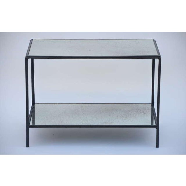 Modern Contemporary Design Frères 'Rectiligne' Wrought Iron and Mirror End Tables - a Pair For Sale - Image 3 of 11