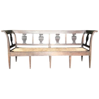 19th Century Vintage Neoclassical French Carved Walnut Bench For Sale
