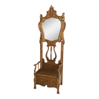 Traditional Wood and Brass Hall Tree With Mirror For Sale