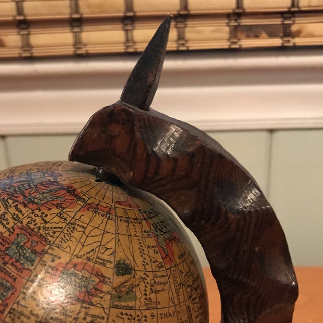 Mini Desktop Globe on Wood Axis For Sale - Image 4 of 13