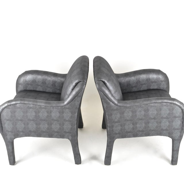 Mid-Century Modern Pair of 1980s Armchairs in Metallic Faux Shagreen For Sale - Image 3 of 10