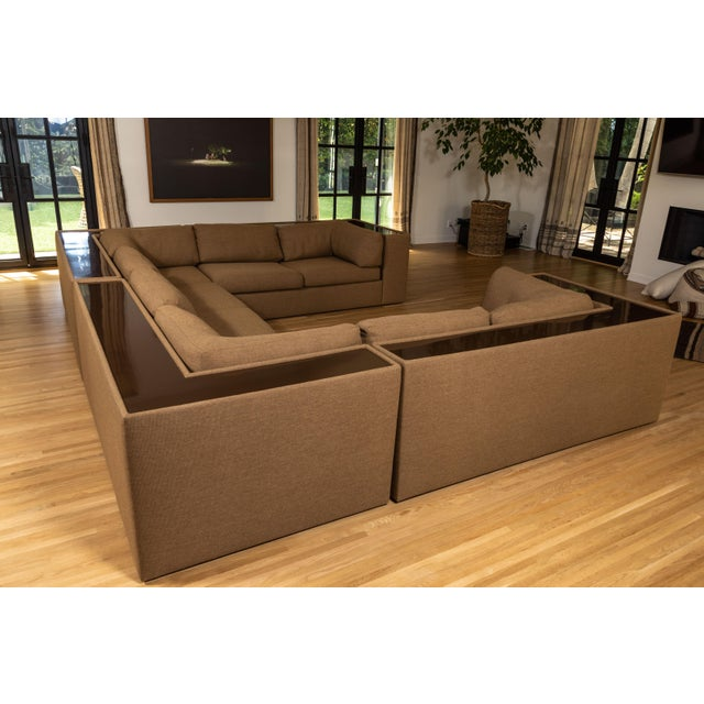 Magnificent Milo Baughman sectional sofa, newly upholstered in Kravet performance fabric. Four pieces offer options for...