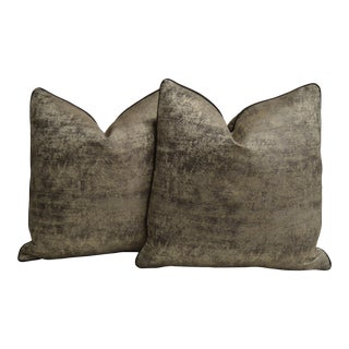 "Pair of Custom 20"" Faux Distressed Pillows For Sale"