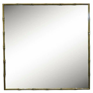 Bronze Hollywood Regency Faux Bamboo Faux Bois Wall Mirror For Sale