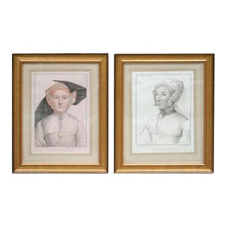 Set of Four Hand-colored Engravings After Holbein For Sale