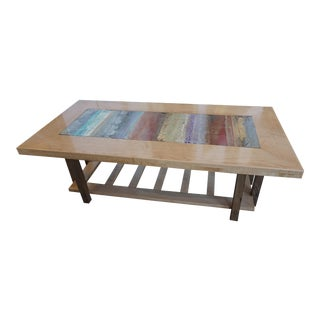 Organic Art Inset Wood Coffee Table