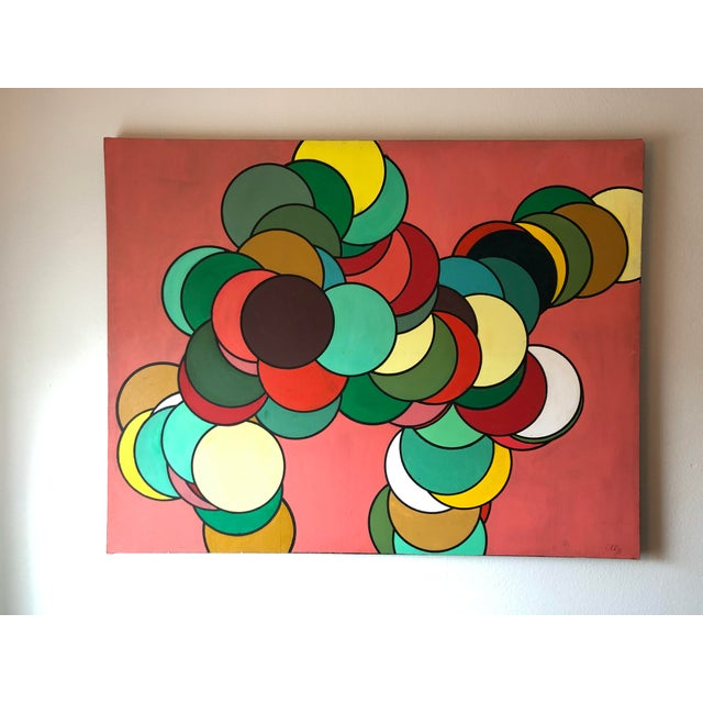 Op Art Mid Century Oversized Op Art Painting For Sale - Image 3 of 8