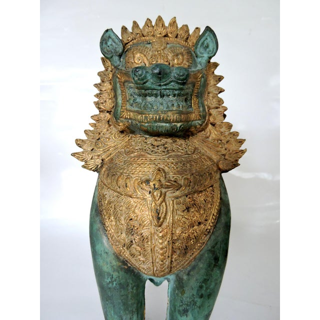 Metal Thai Singha Temple Guardians/Dragons - a Pair For Sale - Image 7 of 9
