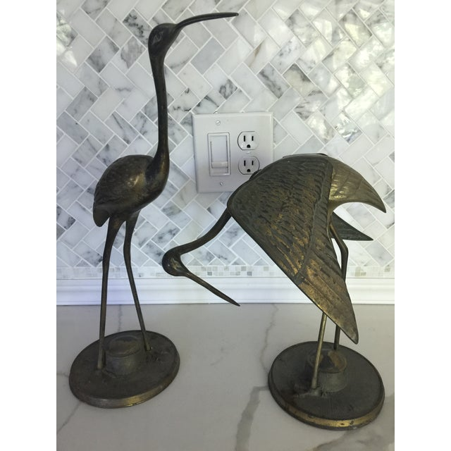 Brass Crane Statues- a Pair For Sale - Image 13 of 13