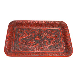 1970s Asian Red Lacquer Cinnabar Tray W/ Carved Dragons