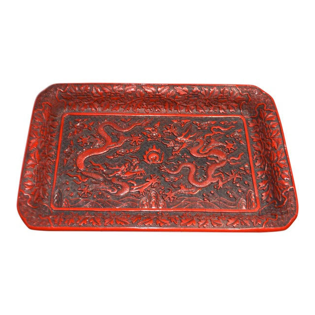 1970s Asian Red Lacquer Cinnabar Tray W/ Carved Dragons For Sale
