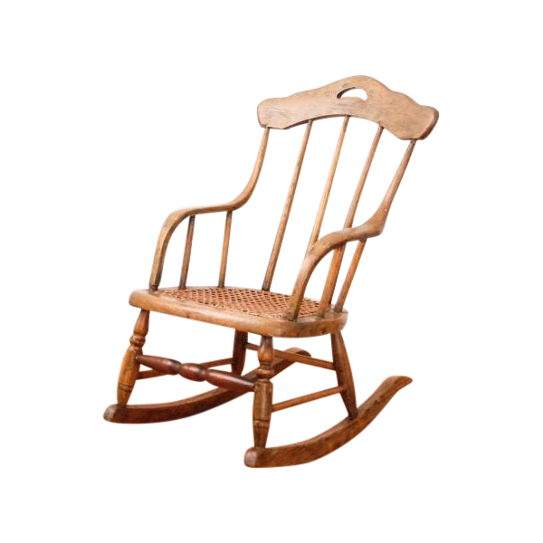 Antique Childu0027s Bentwood Cane Rocking Chair