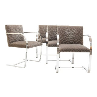 1960s Vintage Mies Van Der Rohe Brno Chairs in Mohair - Set of 4 For Sale