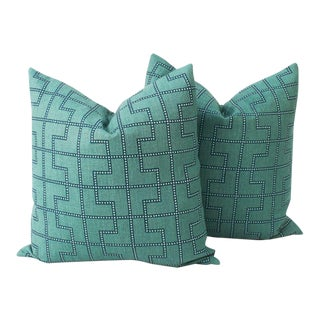 Peacock Linen Schumacher Bleecker Pillows, a Pair For Sale