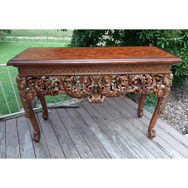 Wood Vintage Theodore Alexander Althorp Carved Wood Gilded Console Table For Sale - Image 7 of 13