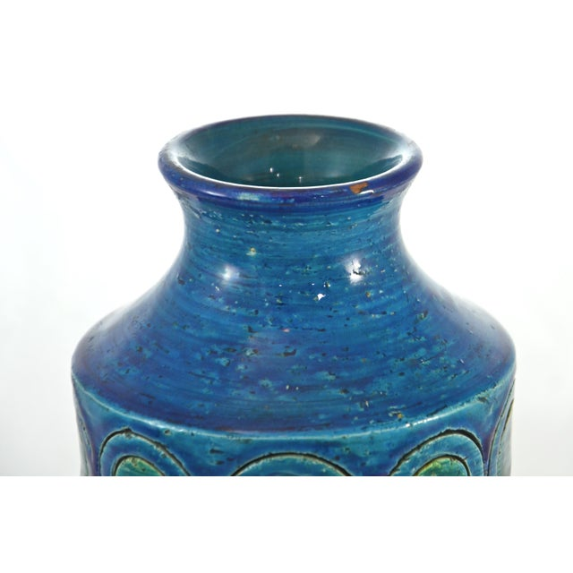 """Italian Midcentury Bitossi for Raymor aqua, blue and green cylindrical vase. Marked """"Italy."""" Light wear with a small rim..."""
