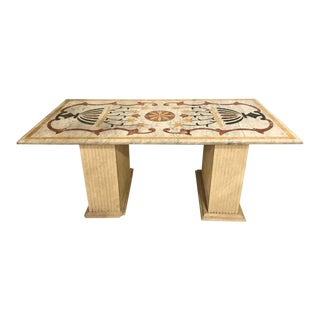 Pietra Dura Marble-Top Center or Dining Table on Marble Base For Sale