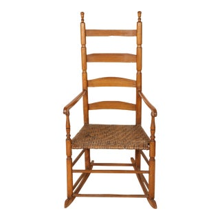 Early 20th Century Vintage Ladder High Back Rocking Chair For Sale