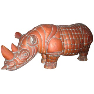 Signed Brass and Copper Rhino by Mexican Artist, Sergio Bustamante For Sale