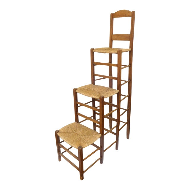 Unusual Triple-Stepped Wood and Woven Rush Chair For Sale