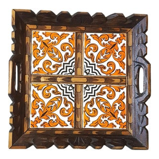 Serving Tray Wood & Tile Hand Carved Wooden Trivet Hot Pad Vintage Kitchen Barware For Sale