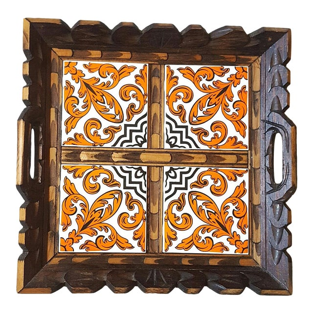 Serving Tray Wood & Tile Hand Carved Wooden Trivet Hot Pad Vintage Kitchen Barware For Sale