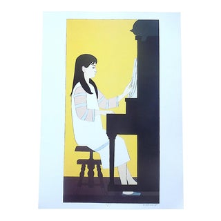 """Vintage Lithograph-""""Girl at the Piano""""-After Will Barnet For Sale"""