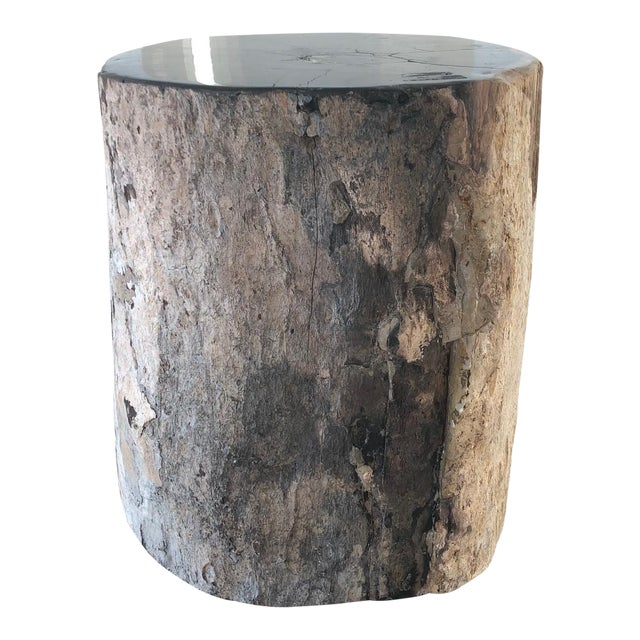 Restoration Hardware Petrified Fossilized Wood Coffee Table Stool For Sale