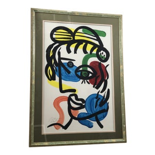 "1970s Vintage Peter Keil ""Colorful Face"" Painting For Sale"