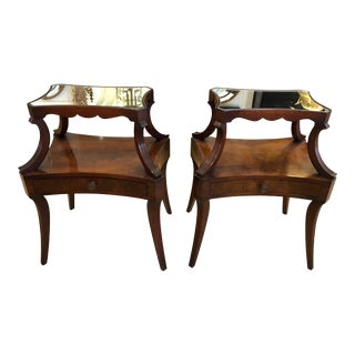 1930s Traditional Grosfeld House Crotch Mahogany 2-Tier Nightstand - a Pair For Sale