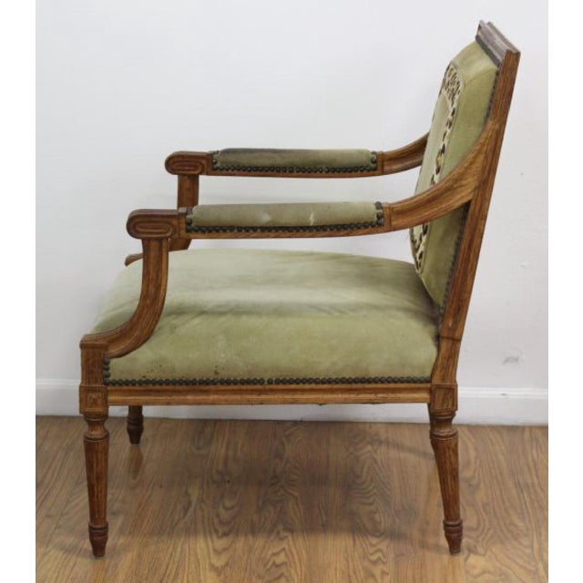 Louis XVI Style Open Armchairs - A Pair For Sale - Image 4 of 6