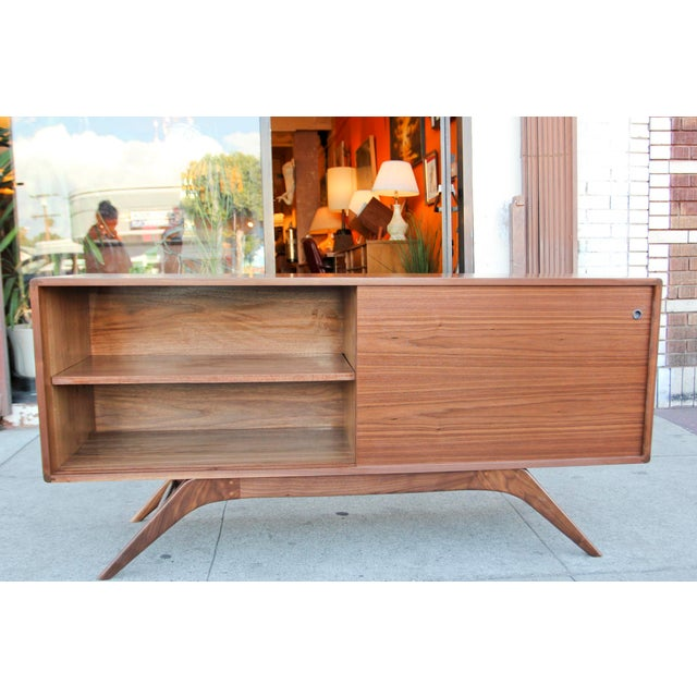Wood Mid-Century Walnut Credenza For Sale - Image 7 of 12