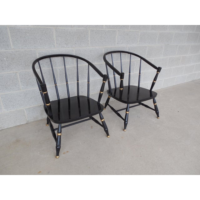 Black Rousseau Bros. Barrel Back Spindle Black Painted Club Chairs-A Pair For Sale - Image 8 of 11