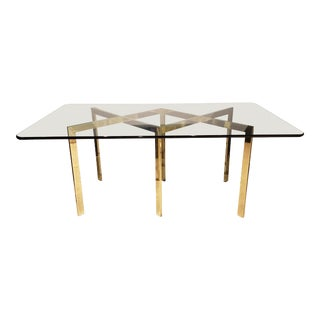 1970s Vintage Design Institute America Brass & Glass Dining Table For Sale