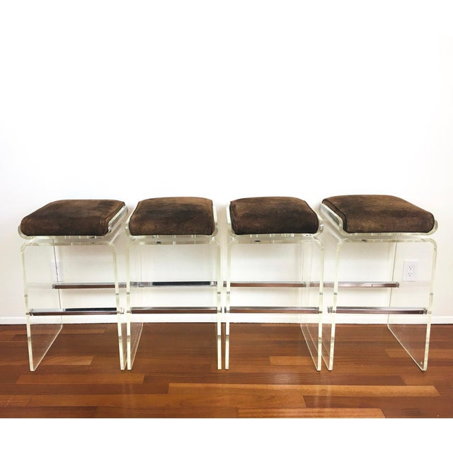 1970s Charles Hollis Jones Attributed Waterfall Lucite Swivel Bar Stools / Chairs, Set of 4 For Sale - Image 12 of 12