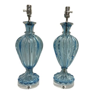 Midcentury Murano Lamps, a Pair For Sale