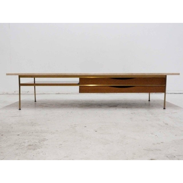 Paul McCobb For Calvin Mahogany, Brass & Travertine Coffee Table - Image 11 of 11