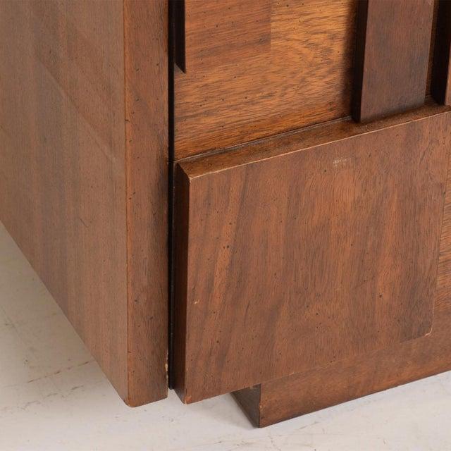Mid-Century Modern Brutalist Patchwork Walnut Tiles Dresser by Lane For Sale - Image 9 of 10