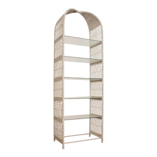 Danny Ho Fong Style Wicker & Glass Etagere For Sale